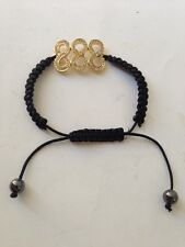 FENG SHUI BLACK STRING  BRACELET WITH 3 TRIPLE NUMBER 8 EIGHT FOR WEALTH LUCK