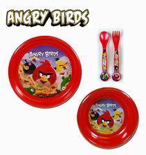 Angry Birds Rovio 4pc Dining Set - Plate Bowl Flatware Set Spoon & Fork NWT 3+
