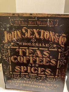 John Sexton Coffee tin. Lg 5 pds Possibly Civil War period.