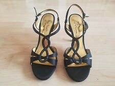 BRAND NEW!! Touch of Nina High Heel Sandals Shoes 8.5M Black Strappy Satin Jewel