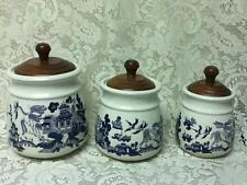 Vintage, Heritage Mint, 3pc Blue Willow Canisters w/ Lids- 8in, 7.5in and 6.5in