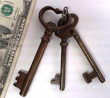 "3 Rare vintage skeleton keys brass 5"" & 4"" & 3"" decor L410 jail? church?"