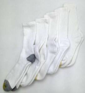 $49 Gold Toe Mens 5 Pairs Pack Athletic Sport Crew Socks White Gray Shoe 6-12