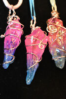 Rainbow Aura Quartz Crystal Necklace, Wired Wrapped Rainbow Pendant Necklace