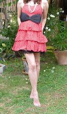 Kleid H&M rot weiß 36/s polka dots Rüschen volants 50s rockabilly retro vintage