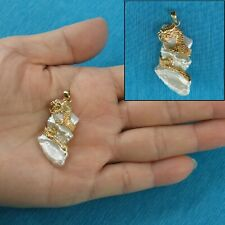 14k Solid Yellow Gold Dragon on Cloud Design White Baroque Biwa Pearl Pendant