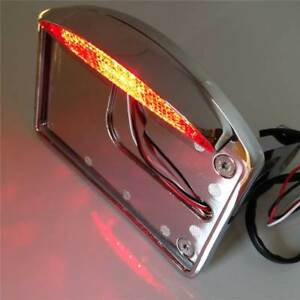 Side Mounted License Plate LED Light Assembly Motorcycle parts Tail Brake Chrome