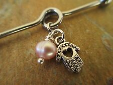 Hamsa Hand with Tiny Pink Pearl Industrial Barbell Scaffold 32mm 35mm 38mm