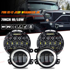 "For Jeep Wrangler JK 7"" LED Porjector Headlights Halo Fog Lights Combo Kit"