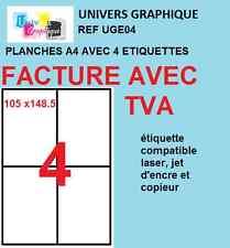 100 Planches A4 de 4 étiquettes A6  format 105 x 148.1 mm soit 400 etiquettes A6