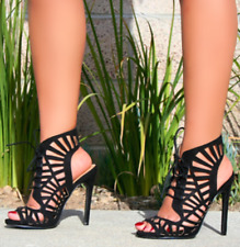 Black Caged Lace Up Front Open Toe Bootie Heels, US 6-10