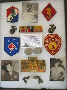 WWII USMC Id'd Group - Dog Tags, ID Bracelet, Insignia & more - Fought at Midway