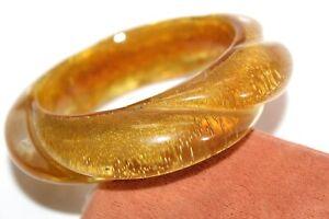MONIES Twisted Lucite Gold Tone Chunky Massive Bangle Bracelet BRD2