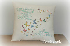 HANDMADE CUSHION ~ THE CATERPILLAR BECAME A BUTTERFLY