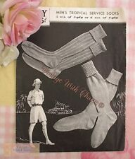 Vintage 1940s Mens Tropical Service Socks Knitting Pattern Ww2 .2 Styles 3 Sizes