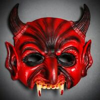 NEW Horror Red Zombie Teeth Horn Halloween Mask Devil Ghost Masquerade Cosplay