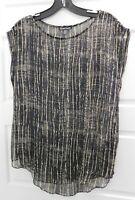 Eileen Fisher Black Beige 100% Silk Sheer Sleeveless Blouse Top XS