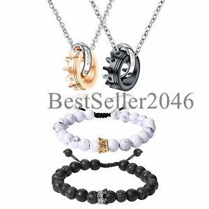 4Pcs Couple King Queen Crown Necklace Bracelets Matching Set for Men Women Gift
