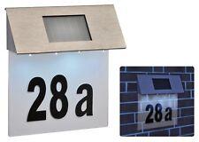 LED Solar Hausnummer Dämmerungssensor Edelstahl Beleuchtung Solarleuchte