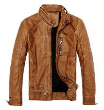 New Men's Faux Leather Jacket Winter Zipper Thickness Motorcycle Coat Praka Tops