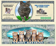 Tabby Cat and Kittens Million Dollar Bill Collectible Funny Money Novelty Note
