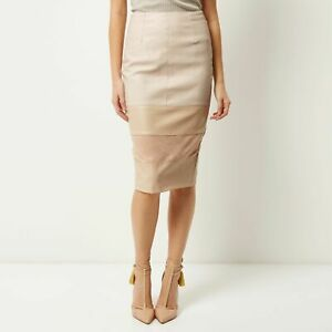 RIVER ISLAND Nude Pink Faux Leather Suede Block Panel Pencil Skirt Size 10 New