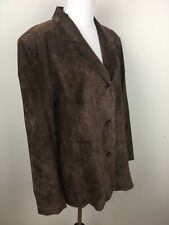 Dialogue Womens Brown Leather Coat Suede Sz L Lined Car Coat Pockets Washable