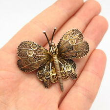 835 Silver Gold Plated Vintage Butterfly Design Filigree Pin Brooch