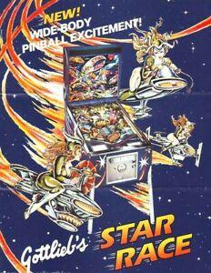 Gottlieb Star Race Pinball FLYER 1980 Original Game Artwork Space Craft Travel