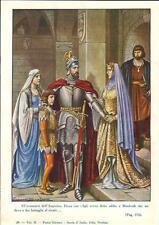 Stampa antica MANFREDI Re di Sicilia e la moglie Elena 1930 Old antique print