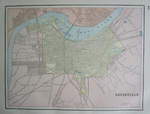 KY IN Antique LOUISVILLE KENTUCKY City Map. RAILROADS. JEFFERSONVILLE NEW ALBANY