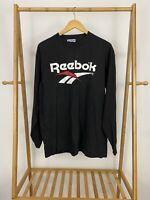 VTG Reebok 90s Big Logo Long Sleeve Black T-Shirt Size L USA