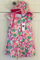 BABY GAP SIZE 0-3-6 Mo Girls Outfit SET NEW Summer Pink Green DRESS & HAT