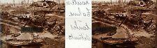 Plaque stéréoscopique.positif.guerre 1914-1918.route de Tahure . tanks détruits