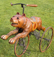 """Rare Antique Black Forest Bear Tricycle Bicycle Hand Carved -Painted- 33"""" Across"""