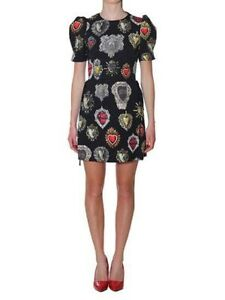 DOLCE & GABBANA Sacred Heart Brocade Puff Sleeve Black Mini Dress BRAND NEW 46