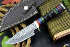 Custom Damascus Steel Hunting Knife Handmade With Impala Horn Handle (Z39)