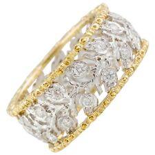 M. Buccellati Ramage Diamond Two Color 18K Gold Leaf Band Ring