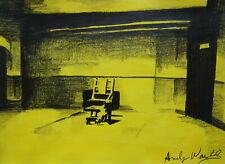 Fine unique Pop Art painting – elctric chair, signed Andy Warhol w COA