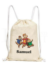 Personalised Childrens Alvin And The Chipmunks Drawstring Canvas Gym/ PE Bag