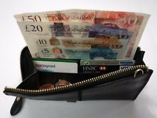 Soft Leather Purse Organiser Very Slim with Wrist Strap Black Colour