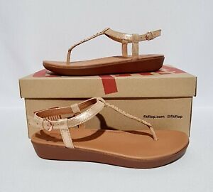 FITFLOP TIA LEATHER T BAR SANDALS ROSE GOLD & BROWN MICROSTUD BACK STRAP SUEDE