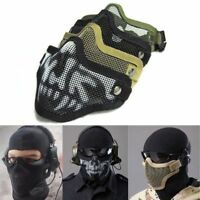 HALF FACE SKULL ADJUSTABLE MILITARY MESH MASK TACTICAL AIRSOFT PAINTBALL BB MASK