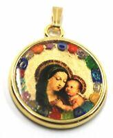 Anhänger Medaille, Glas Murano, Arbeiten Blatt Gold, Jungfrau Maria Und Jesus