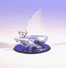 New Crystal World Bear & Dolphin Sali Boat Figurine Miniature