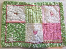 Pottery Barn Pink Green Patchwork Flamingo Butterfly Pillow Sham