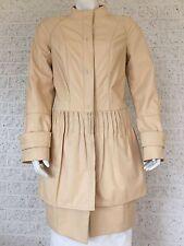Light Genuine Leather Cream 3/4 Length Woman's Italian Coat Size US 4
