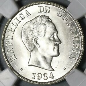 1934 NGC MS 64 Colombia Silver 50 Centavos Cartwheel Luster Coin (20091202C)