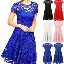 UK Women Lace Short Sleeve Mini Dress Cocktail Party Evening Formal Prom Dresses