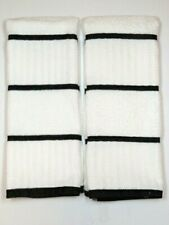 "Hand Towels Terry Cloth Kitchen Dish White w/Black Stripe 28"" X 16' set of 2"